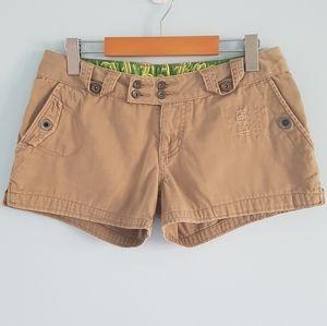 Billabong khaki distressed twill shorts